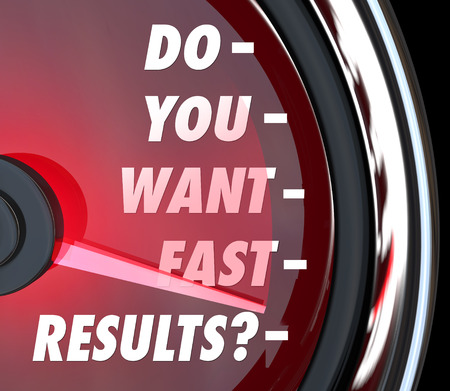 gratified: Do You Want Fast Results words on a speedometer to ask if you desire instant gratification or speedy satisfaction to your needs, project, job or quest Stock Photo
