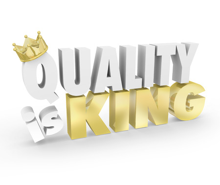 Quality is King with gold crown to illustrate the best value product is most important and highest priority, one with competitive advantage