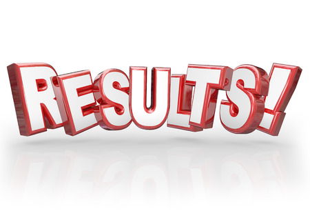 Results word in red 3d letters to illustrate a good outcome from a goal, mission achieved, objective met or other work, achievement or accomplishment Stock Photo - 26058309