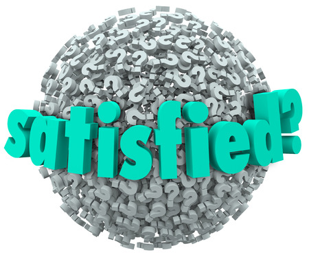 gratified: Satisfied word and question mark on a sphere of questionmarks to ask if you are content, fulfilled and gratified with the result or outcome of work or pleasure Stock Photo