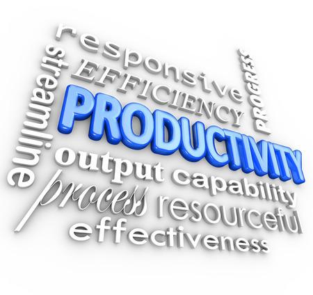 productividad: Palabra Productividad y términos relacionados, como la línea de corriente, sensible, la eficiencia, el proceso, la producción, el progreso, eficaz, con recursos, capacidad y más en un collage 3d Foto de archivo