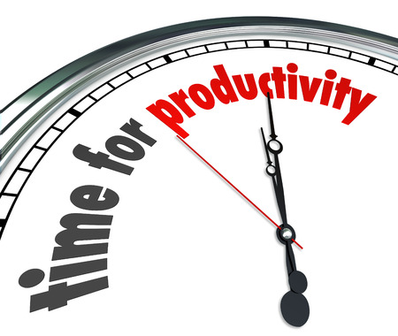 Time for Productivity words on a clock face to illustrate efficiency and working together to achieve immediate fast results or outcome on a countdown or deadline