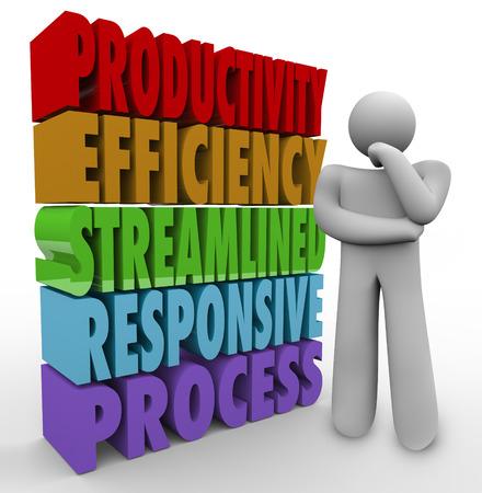Productiviteit, efficiëntie, Streamline, Responsive Process en 3d woorden naast een persoon na te denken over het verbeteren van een systeem om meer of betere resultaten of product output te genereren Stockfoto