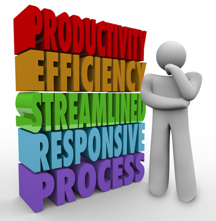 Productivity, Efficiency, Streamline, Responsive and Process 3d words beside a person thinking about improving a system to generate more or better results or product output Imagens