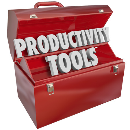 work tools: Herramientas de productividad de las palabras en una caja de herramientas de metal rojo para ilustrar las habilidades y conocimientos necesarios para aprender y practicar para mejorar o aumentar la eficiencia y mejores resultados, el logro de metas y resultados positivos