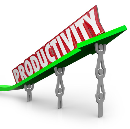 Productivity word lifted on arrow by people working together as a team in an efficient, productive, effective manner that delivers results and good positive outcome