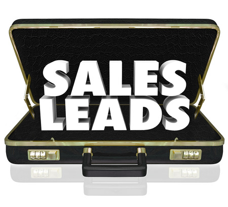 convert: Sales Leads words in a black leather briefcase to illustrate new customers or prospects in a selling opportunity with proposal or presentation