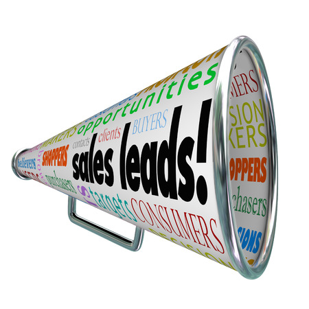 purchasers: Sales Leads and other words like contacts, targets, consumers, shoppers, buyers, purchasers, users and decision makers on a bullhorn or megaphone