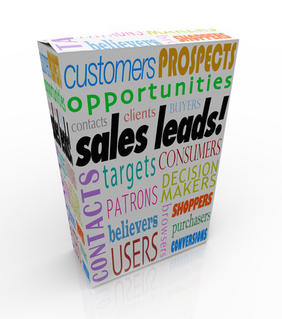 purchaser: Sales Leads words on a product box or package to illustrate a competitive advantage of finding new customers or prospects