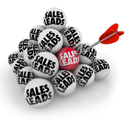 lead: Sales Leads words on a pyramid of stacked balls to illustrate new customers or prospects for your business or company