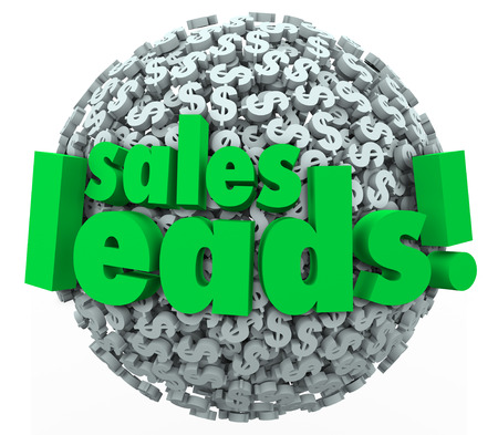 Sales Leads words on 3d sphere of dollar signs or symbols to illustrate converting prospects into new customers for your business Stock Photo