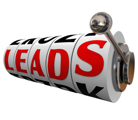 leads: Sales leads word on slot machine dials to illustrate winning new customers or prospects via investing in advertising and marketing to promote your company or business