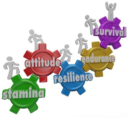 Een team van mensen mars op tandwielen gemarkeerd met woorden Stamina, Attitude, Veerkracht, Endurance en Survival om te illustreren overwinnen en outlasting een uitdaging, moeilijkheden of problemen Stockfoto
