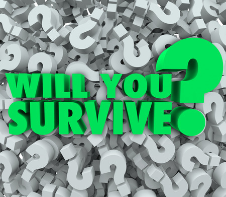 Will You Survive words on a background of 3d question marks asking if you have what it takes to persevere, endure, and achieve survival in the face of incredible, difficult and challenging odds photo