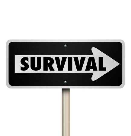 way of living: Survival word on a one way road sign to illustrate good attitude, resilience, endurance, stamina and determination in winning or living through a challenge or difficult conditions Stock Photo