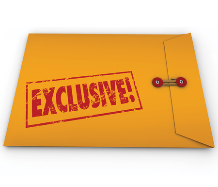 segregated: Exclusive word stamped on a yellow confidential classified envelope to symbolize information or content that requires special permission to see, open and read
