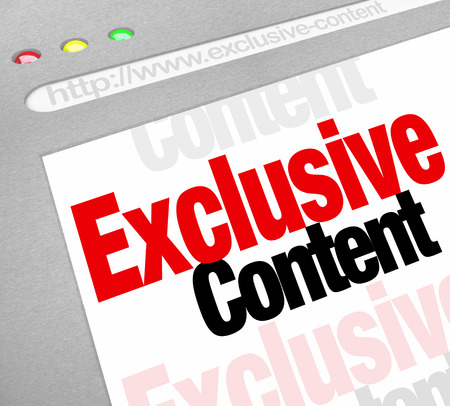 website words: Exclusive Content words on a website or internet resource to illustrate information or news updates that is special and requires premium or high level access permission to view or read Stock Photo