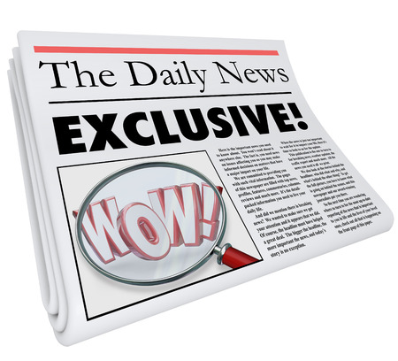 else: Exclusive word on a newspaper headline, article or story to symbolize news or information content that is available nowhere else