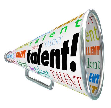 Talent parola su un megafono o megafono chiamando tutti i lavoratori qualificati