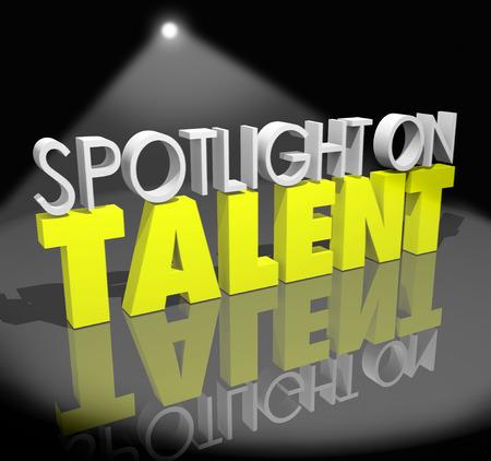 white light: Spotlight on Talent palabras en un escenario bajo una luz blanca y brillante Foto de archivo