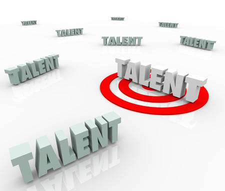 knack: Talent words targeted with bulls-eye  Stock Photo