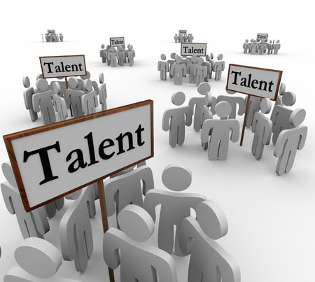Talent signs with clusters or groups of people