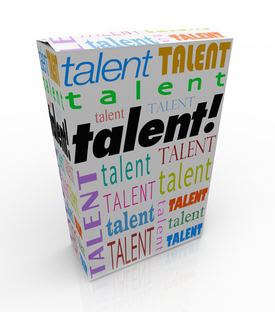 communication capability: Talent word on a box or product package to sell yourself and your skills to a prospective employer and get hired for a job Stock Photo
