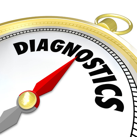 conclude: Diagnostics word on a compass to illustrate using a tool to find a solution to a problem and directing you to a fix or repair of a challenge