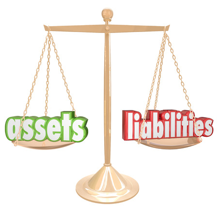 Assets and Liabilities words on a gold scale to illustrate comparing and balancing your investments and monetary value with your costs and debts to determine net worth photo