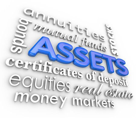 Assets word collage including 3d terms such as annuities, bonds, stocks, certificate of deposit, equities, money market and real estate to represent rising value and increasing wealth photo