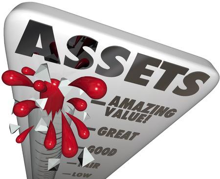 Assets Wort auf einer Thermometer, um die steigenden Wert des Portfolios von Vermögenswerten, darunter Aktien, Anleihen, Bargeld, Immobilien und andere wertvolle Besitztümer zu messen Standard-Bild