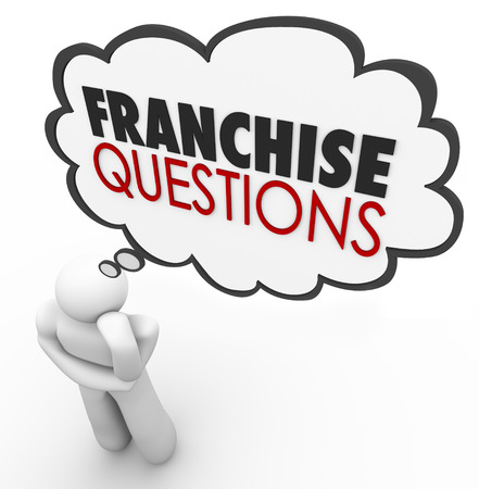 licensed: Franchise Questions in a thought cloud over a thinking persons head to illustrate needing help and answers on how to start up a new licensed chain restaurant or store Stock Photo
