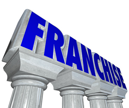 licensing: Franchise word on stone or marble pillars or columns to illustrate the strength and brand power of an established chain or company and the business opportunity of licensing for a startup Stock Photo