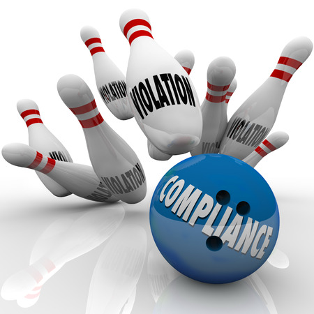 violate: Compliance word on a blue bowling ball striking pins marked Violation to illustrate the power of following rules and guidelines to win in legal challenges