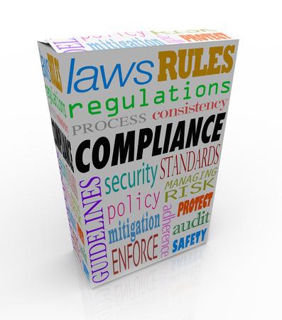 Mots de conformité et connexes comme la sécurité, les règlements, les lois et les règles pour illustrer qu'un produit ou une marchandise passe toutes les exigences légales et est sûr d'acheter, vendre ou consommer Banque d'images - 26371791