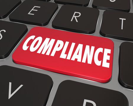 teclado: Palabra de Cumplimiento sobre un botón rojo del teclado del ordenador para ilustrar ayuda o asistencia en línea o sitio web para ayudar a cumplir con las leyes importantes, reglamentos, directrices o normas