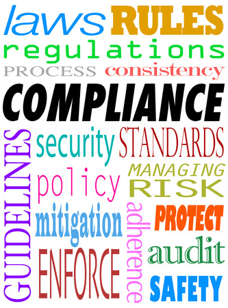 Compliance word background with related terms such as guidelines, enforce, audit, safety, adherence, laws, regulations, process, consistency, rules, security, policy, mitigation and more Stock Photo