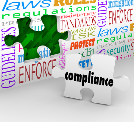 compliance: Compliance wall hole and puzzle piece to help you finish complying with important laws, guidelines, regulations, policies and standards in business or other organization
