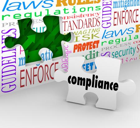 governance: Naleving muur gat en puzzelstukje om u te helpen af te voldoen aan belangrijke wetten, richtlijnen, verordeningen, beleidsregels en normen in het bedrijfsleven of een andere organisatie