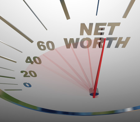 asset: Net Worth word on a speedometer to illustrate rising or increasing total financial wealth or value in stocks, real estate or other investments Stock Photo