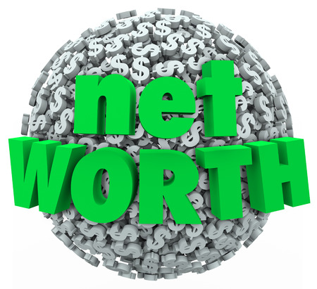 Net Worth words on a ball or sphere of dollar signs to illustrate total financial wealth of assets minus debts or costs photo