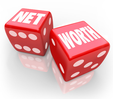 compared: Net Worth words on two red dice to illustrate gambling or betting on finances to improve your total asset value compared to debts in accounting