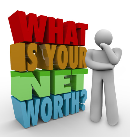 net income: What Is Your Net Worth question in 3d words beside a man thinking to illustrate figuring out or adding your total money value or financial wealth, comparing assets to debts in finance