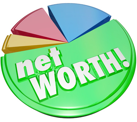 assets: Net Worth words on a pie chart comparing the total value of your assets versus your debt to determine total financial status, rating or score Stock Photo