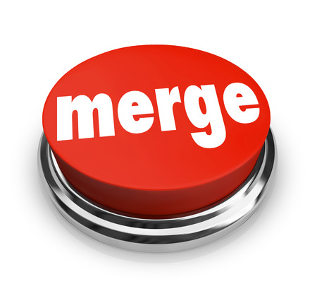 single word: Merge word on a big red button to illustrate combining companies or businesses to create a larger, stronger single organization