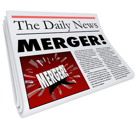 unify: Merger newspaper headline breaking news of multiple companies combining forces to create one huge business