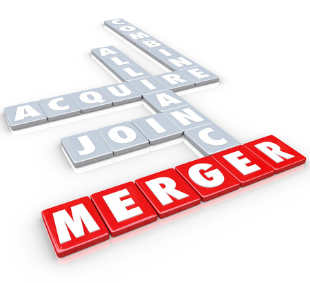 consolidate: Merger and related words on letter tiles, including acquire, join, alliance and combine to illustrate merging two or more companies into one larger business Stock Photo