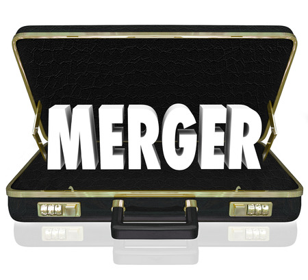 unify: Merger word in black leather briefcase opening to reveal a proposal or offer to merge two or more business units into a larger, stronger company