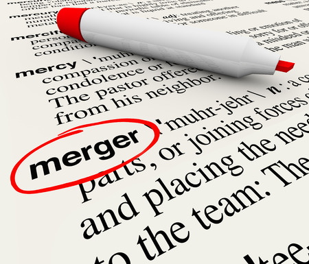 definition define: Merger definition word circled in a dictionary to illustrate how to define the term of combining businesses to create a larger, stronger single company