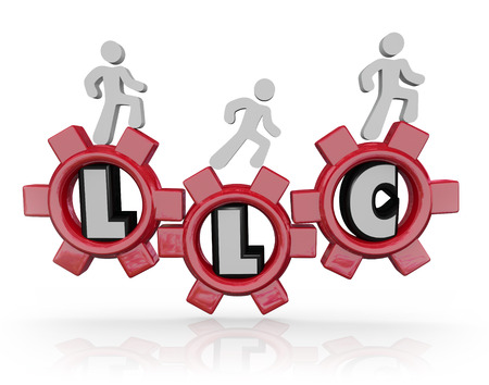 licensing: LLC Limited Liability Corporation letters in red gears to illustrate managing an effective, legally protected business model with tax benefits Stock Photo